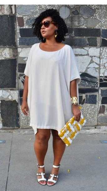 dress, plus size, white, white dress, flowy dress, plus size dress ...
