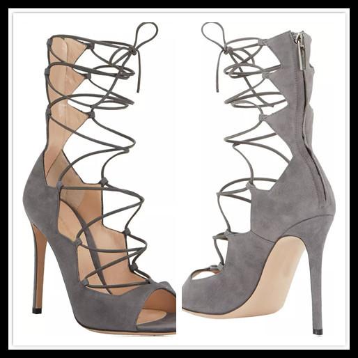 Grey Gladiator Heels | Tsaa Heel