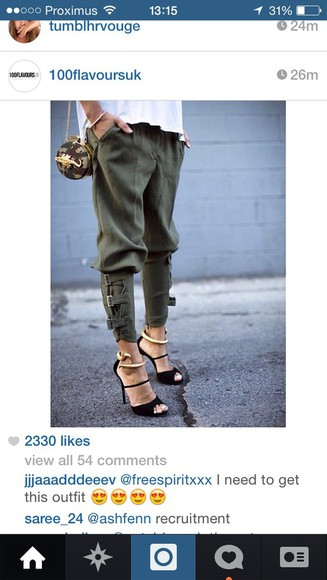 fashion khaki leggings pants nice like high heels new babe style