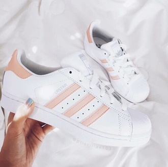 shoes adidas adidas shoes adidas superstars stripes pink beige white shoes beige shoes gold gold shoes pink shoes