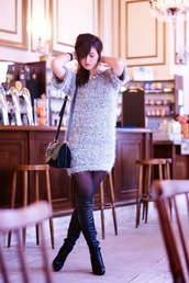 meet me in paree,blogger,fluffy,sweater dress,black boots,knitted dress,sweater,dress,shoes,bag,jewels