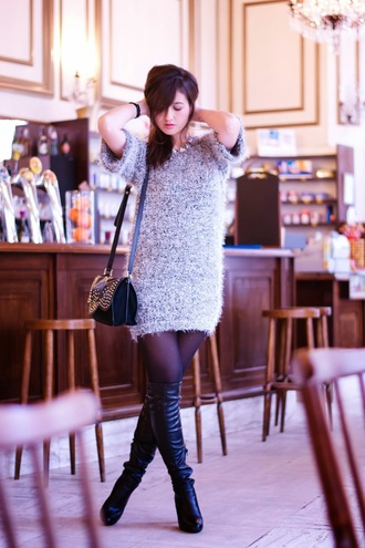 meet me in paree blogger fluffy sweater dress black boots knitted dress sweater dress shoes bag jewels