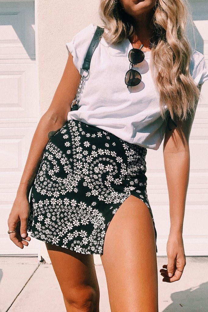 VG Major Cover Bias Cut Mini Skirt // Floral