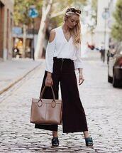 pants,brown pants,tumblr,white shirt,shirt,wide-leg pants,cut-out shoulder top,cut out shoulder,cut-out,bag,nude bag,mules,cropped wide-leg velvet pants
