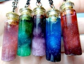 jewels,space,colorful,red,pink,blue,green,shiny,galaxy print,necklace,water bottle,cork,glitter,mystical,pastel goth,soft grunge,fairy,crystal,amazing,gemstone,girly,raw,stone,grunge,rainbow,purple,white,jar,colorful necklace