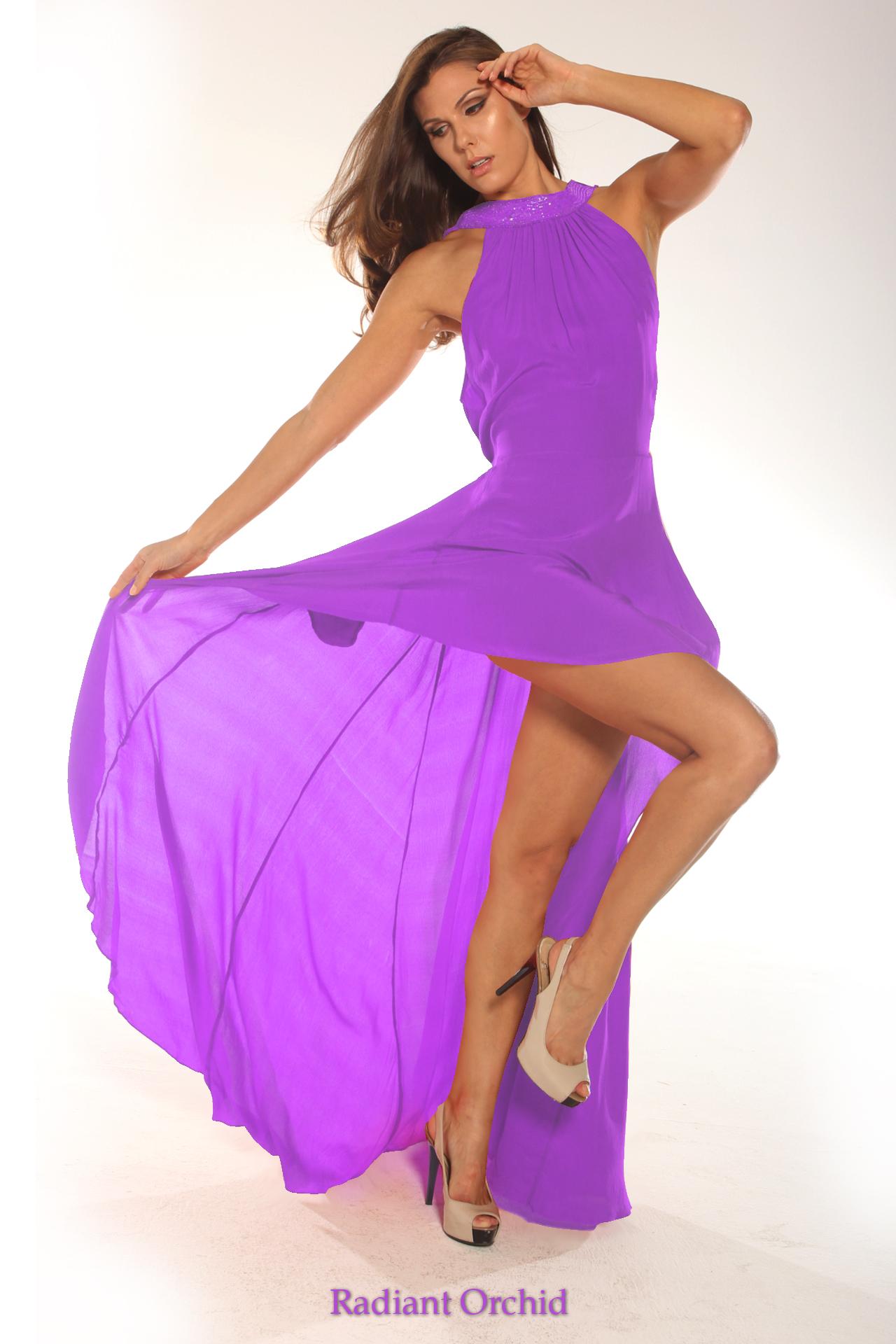 Parides Hi Low Maxi Dress in Radiant Orchid Color
