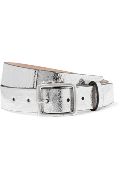rag & bone - Boyfriend Metallic Crinkled-leather Belt - Silver