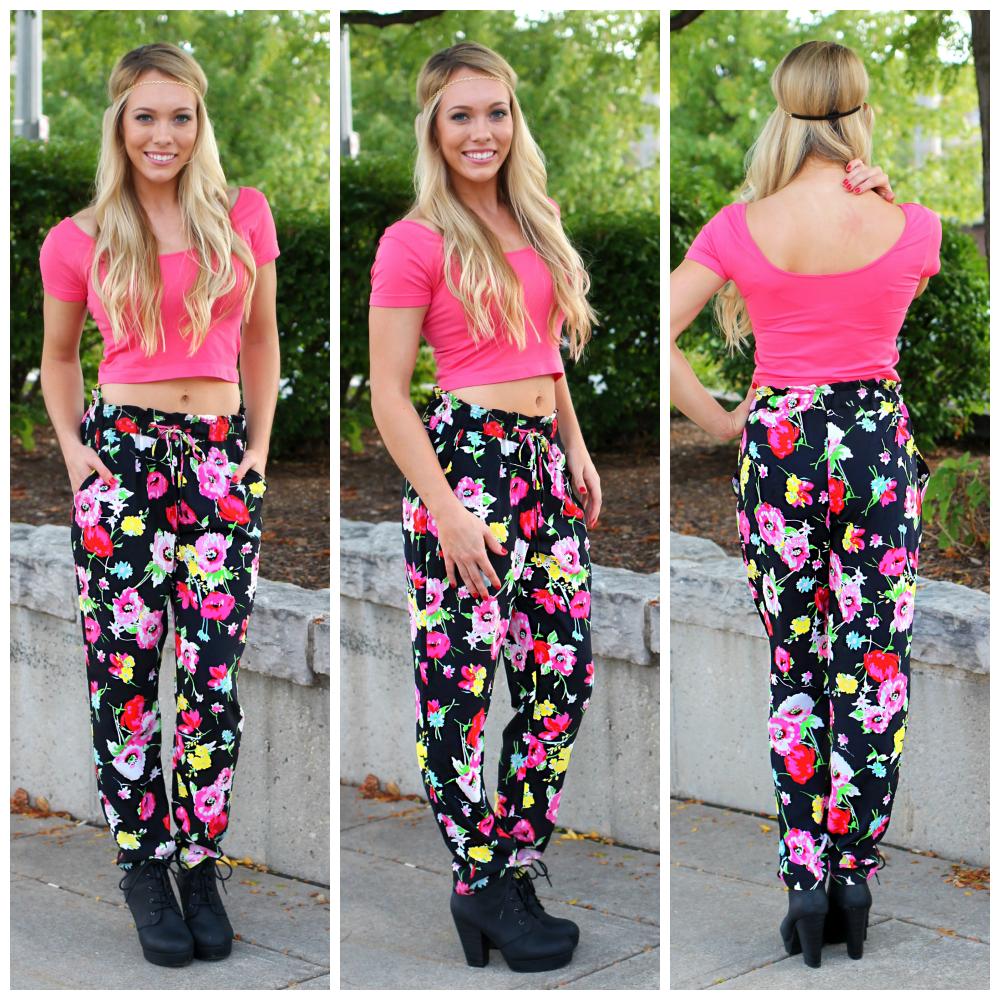 Floral Print Harem Pants   uoionline.com: Women's Clothing Boutique