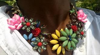 jewels aliexpress statement necklace flowers floral necklace jcrew inspired pink rhinestones shourouk