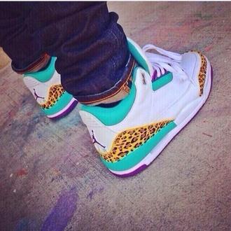 shoes teal air jordan 3 jordans cheetah jordan's leopard print