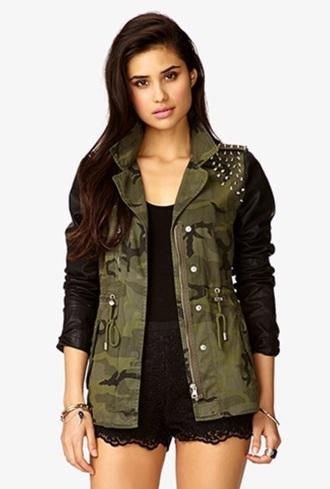 jacket camojacket camo armyjacket jacket studs leather