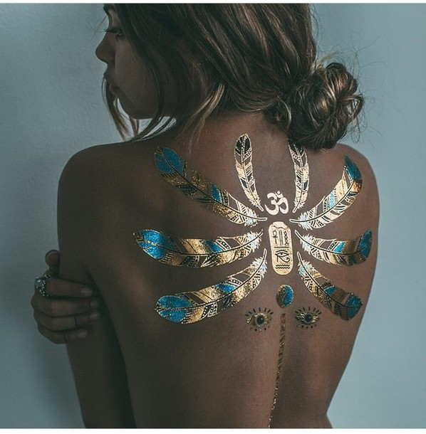 jewels dragon fly tattoo gold blue black back beautiful art eye mimielashiry make-up temporary tattoo fake tattoos feathers metallic tattoo leaves egypt egyptian summer bikini