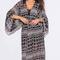 Shop black ethnic print chiffon kimono sleeve boho duster dress coat