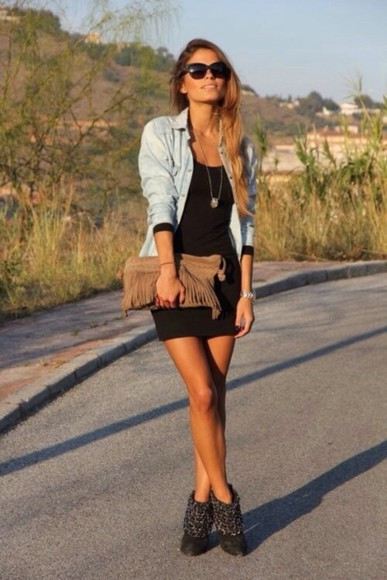dress shoes sunglasses jacket jewels black mini dress little black dress bag brown mini bag summer dress denim jacket sun