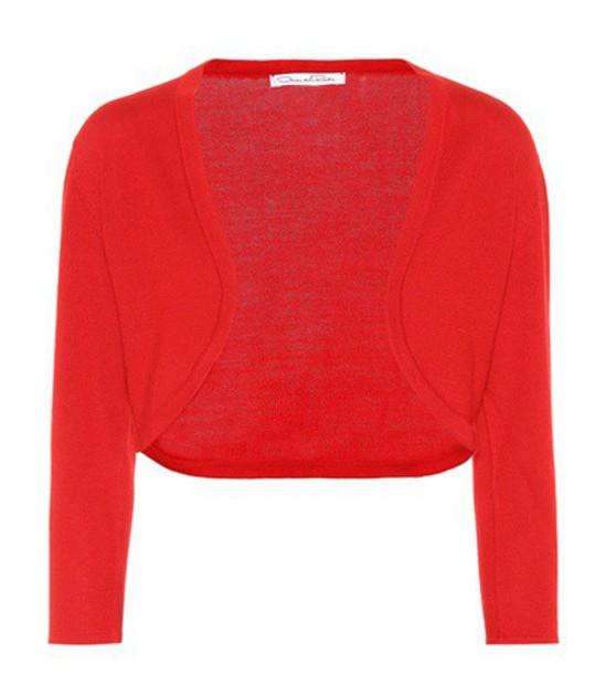 oscar de la renta cardigan cardigan silk red sweater