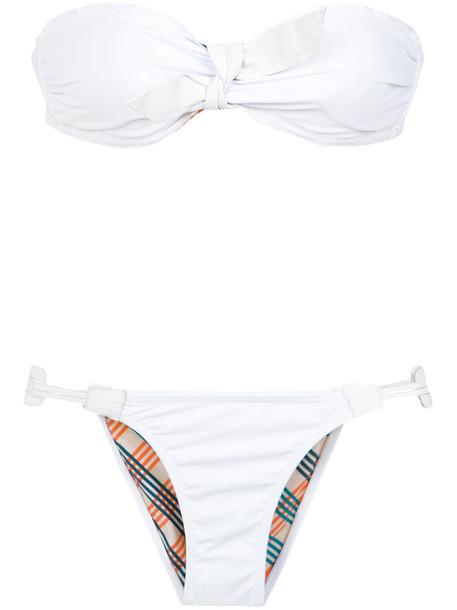 AMIR SLAMA bikini bandeau bikini women spandex white swimwear