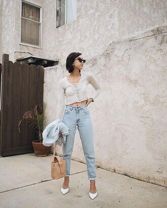 shoes white pumps pumps denim jeans bag top crop tops sunglasses
