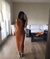 dress,orange dress,orange,kylie jenner,long dress,casual,sexy,kylie jenner dress,nude,nude dress,midi,midi dress,bodycon,bodycon dress,party dress,sexy party dresses,sexy dress,party outfits,sexy outfit,kardashians,keeping up with the kardashians,kendall and kylie jenner,celebrity,celebrity style,celebstyle for less,classy dress,cute dress,girly dress,date outfit,birthday dress,clubwear,club dress,summer dress,summer outfits,spring dress,spring outfits,see through dress