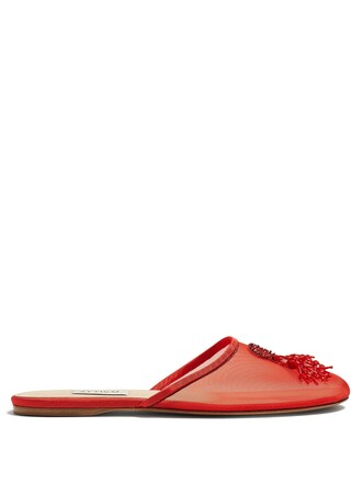 octopus embellished shoes red