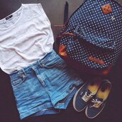 vans,blue,bag,t-shirt,white,jeans,shorts,hipster,hippie,backpack,back to school,outfit,cute,school bag,polka dots,navy,navy backpack