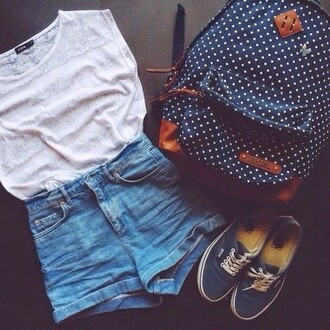 vans blue bag t-shirt white jeans shorts hipster hippie backpack back to school outfit cute school bag polka dots navy navy backpack