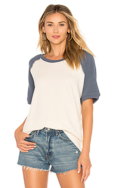 The Great The Short Sleeve Sweatshirt in Washed White With Vintage Blue from Revolve.com