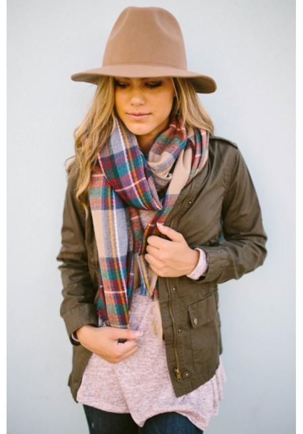 Zoe Plaid Scarf - Oversized plaid scarf. Folded horizontally or wrapped around