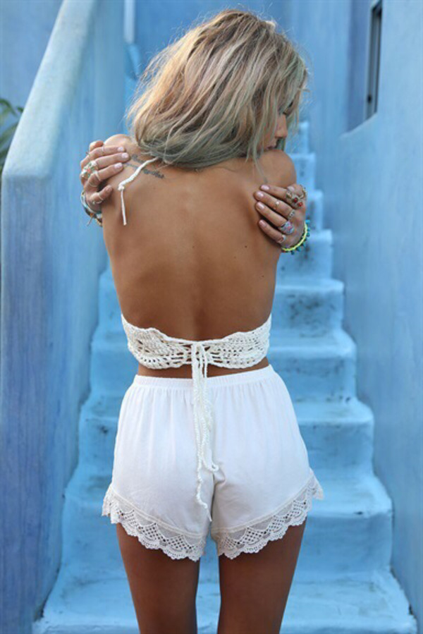 top lace shorts lace top tank top white trendy shorts