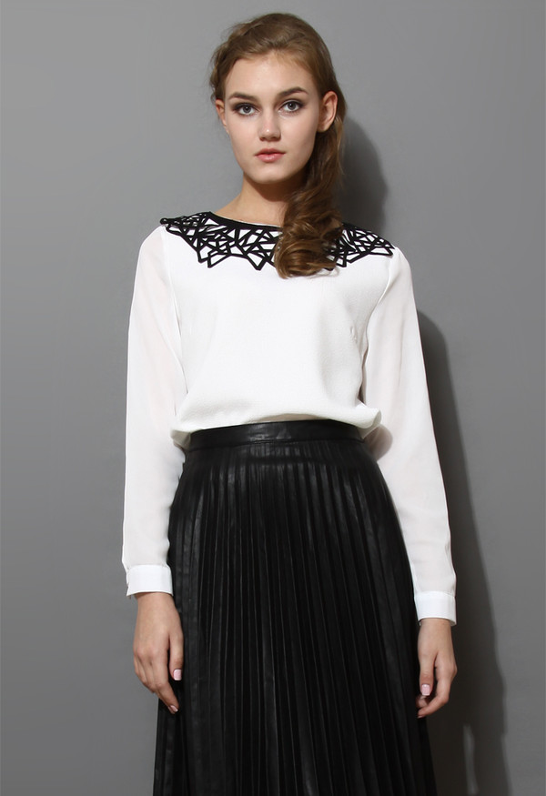 shirt cut-out collar chiffon white top