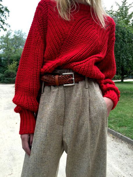 sweater tumblr red sweater chunky knit pants grey pants wide-leg pants wool belt fall outfits