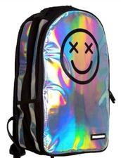 belt,holographic,bag,backpack,holographic bag,happy face,school bag,silver bag,smiley