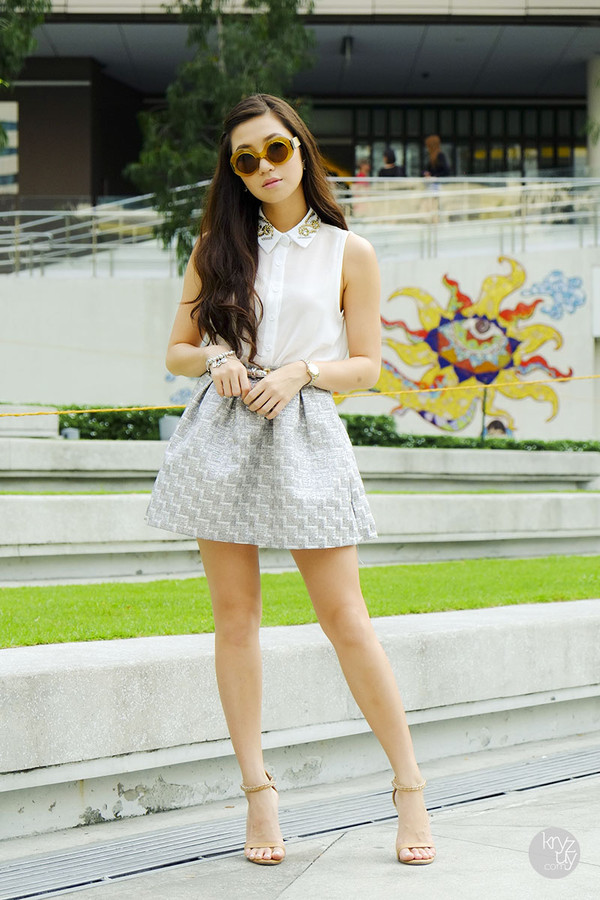 kryzuy t-shirt skirt belt shoes sunglasses jewels blouse