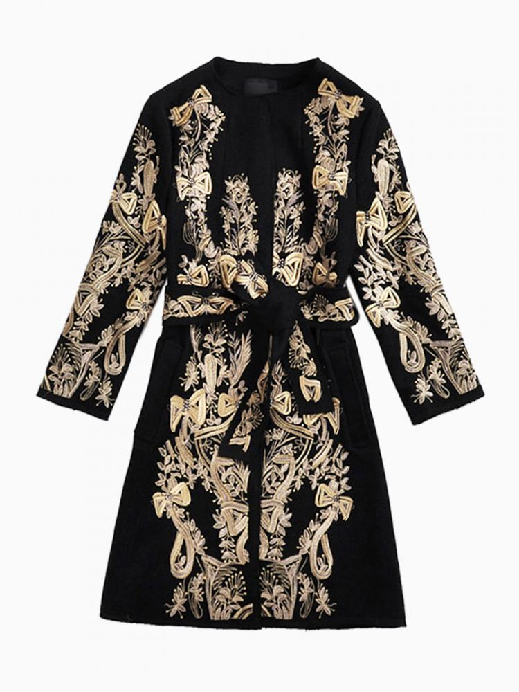 Baroque Pattern Coat With Tie Waist | Choies