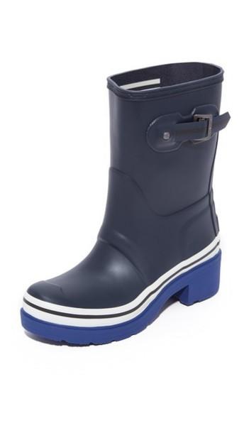 Hunter Boots Original Buoy Stripes Short Booties - Navy/Deep Cobalt/White