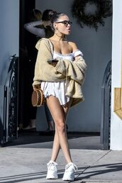 dress,neutral,mini dress,celebrity,sneakers,madison beer,fluffy