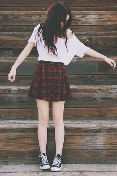white blouse white crop top skirt plaid skirt acacia brinley