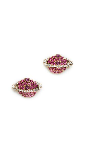 earrings stud earrings pink jewels