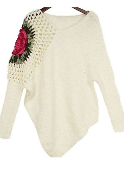 cardigan sweater shirt blouse cute white clothes top floral sweatshirt jumper hollow fashion