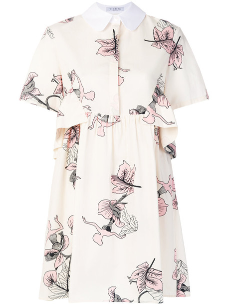 dress printed dress women floral nude cotton