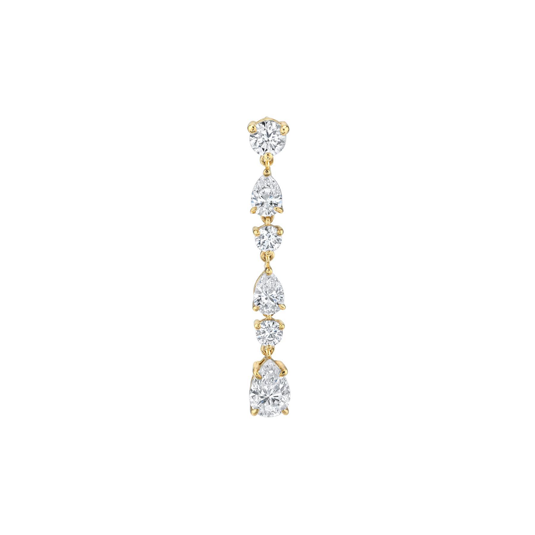 DIAMOND PEAR DROP CHAIN EARRING