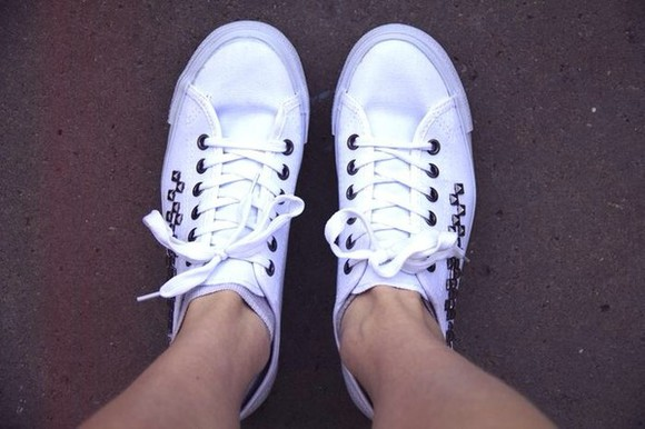 studded shoes white