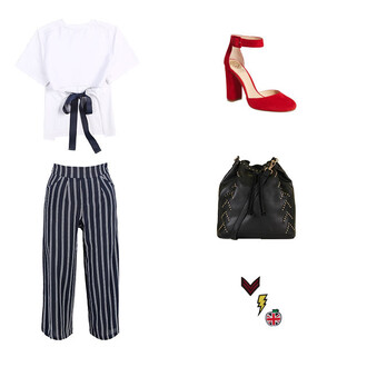 blouse white blouse white open back backless top backless culottes striped culottes stripes red shoes