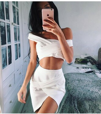 skirt mini skirt pencil skirt white skirt slit skirt high waisted skirt two piece dress set two-piece outfit outfit idea summer outfits cute outfits spring outfits date outfit party outfits clubwear top white top summer top cute top crop tops white crop tops off the shoulder clothes style stylish fashion