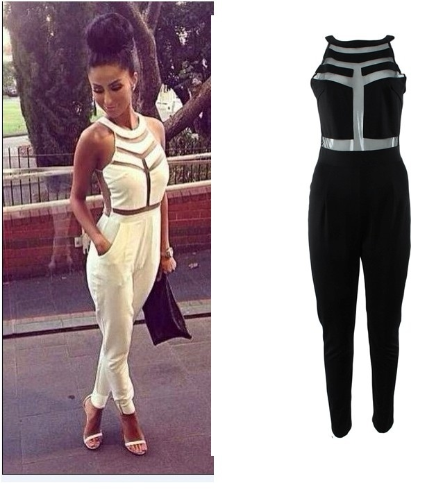 free shIpping .2014 Fashion Net yarn splicing halter Jumpsuit   FT691-in Jumpsuits & Rompers from Apparel & Accessories on Aliexpress.com