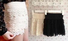 Fashion girl womens cute crochet tiered lace shorts skirt pants beige/black