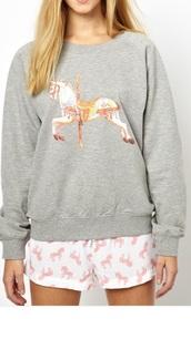 pajamas,grey carousel horse sweater