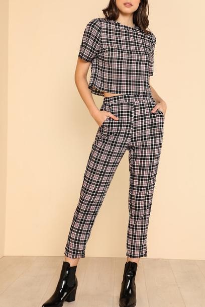 jumpsuit girly plaid plaid shirt two-piece matching set pants