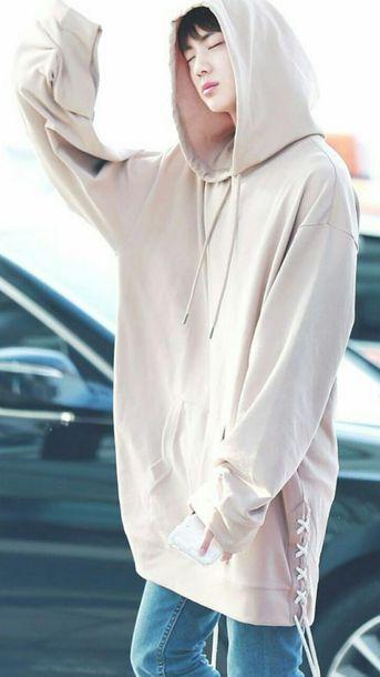 sweater nude pink kim seokjin hoodie bts