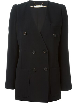 blazer double breasted women black silk jacket