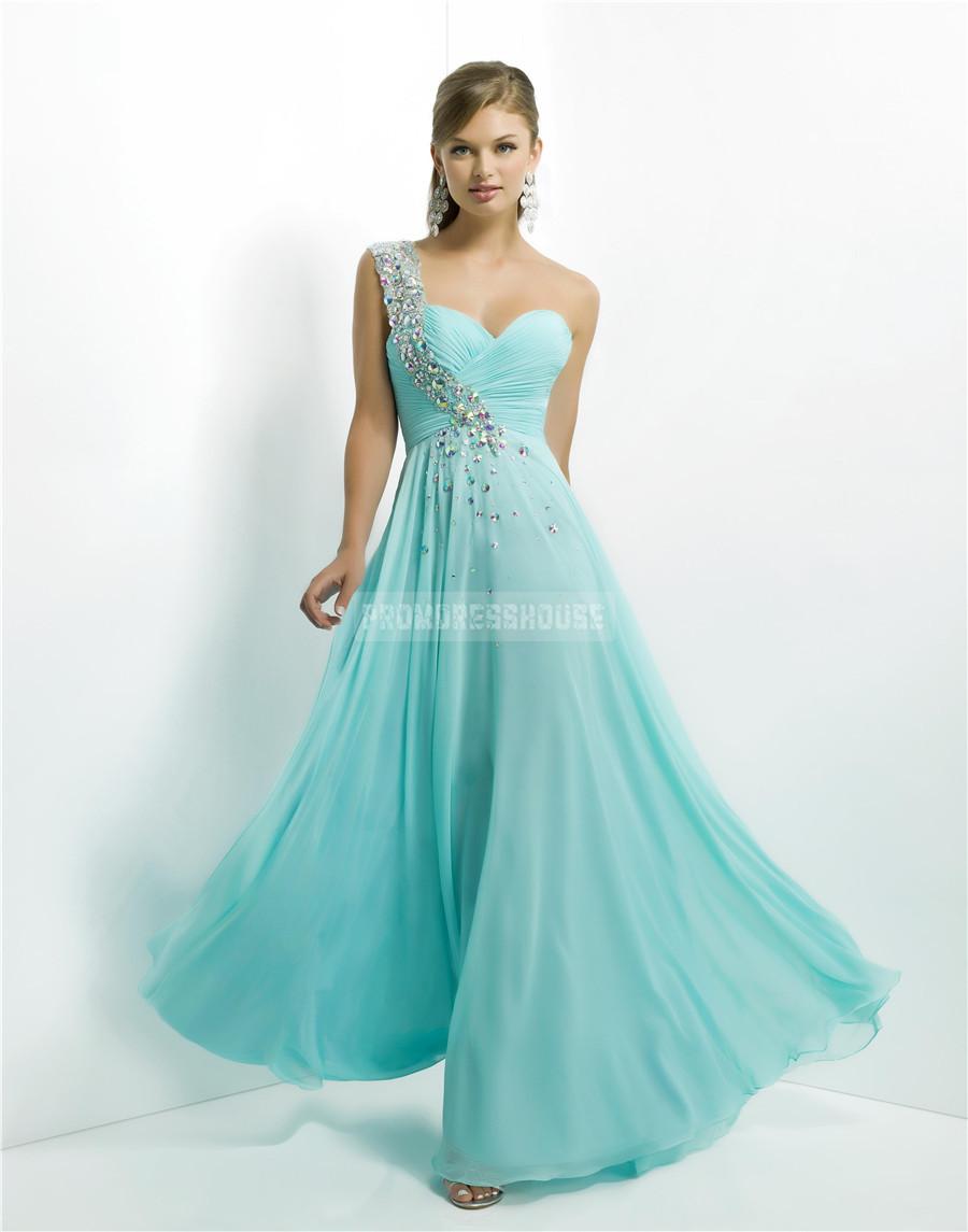 Line natural waist zipper one shoulder chiffon prom dress